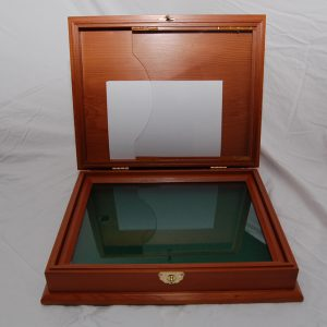 Special order medallion display box made from Western red cedar. Approx cost $300.