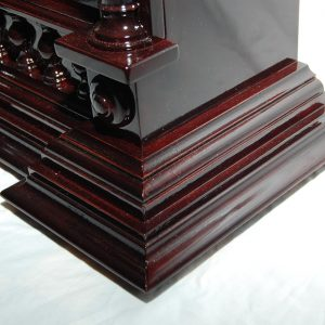 Mantle clock made from Queensland maple and plum tree, stained with red walnut. Approx. cost $580.