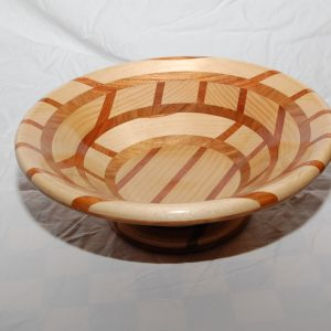 Bowl made out of silver ash and Australian timbers. Approx. cost $150.