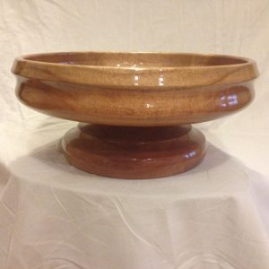Solid Queensland maple bowl with additional base. Ideal as a fruit bowl. Approx cost $190.